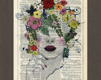 Flower Lady, Flower Hair, Vintage, Dictionary Art Print, Upcycled Dictionary Page, Old Book Art, Decorative Wall Art, 069