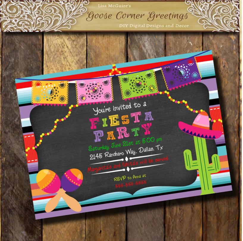 FIESTA Printable invitacion, Sarape Mexican Birthday Party ...