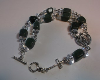 Barb Chaplet-Bracelet made  square jade beads and silver oxidized medal and crucifix-rosary bracelet(.)