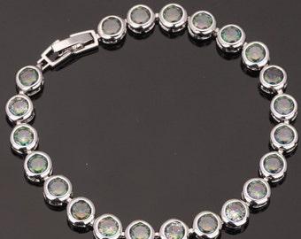 13.25ct Mystic Topaz Bezel Sterling Silver Tennis Bracelet