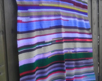 Vintage Afghan Hand Knit Crochet Throw Blanket Mulit color colorful Made Bedspread Bedding Dorm Nursery Wall Hanging art Bright Stripes Gift