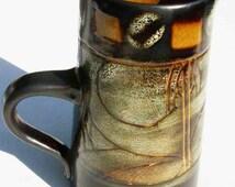 Vintage Newlyn studio pottery Celtic design jug, Medallion range,circa 1960's-70's