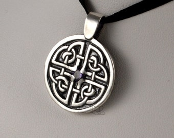 Celtic shield, sterling silver and manmade stone