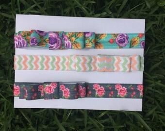 Set of Three Bow Headbands for Newborns, Infants, Toddlers, & Girls. Set Headband, Baby Headband, Bow Headband