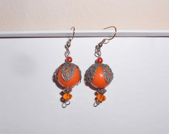 Vintage pierced earrings dangle melon balls handmade 1990s
