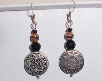 Sun discs pierced earrings with murano and amethyst glass beads handmade 1990s dangle earrings