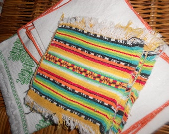 Bohemian linens lot of 9 hodgepodge vintage kitchen and dining linen 1950s - 1960s beach cottage decor
