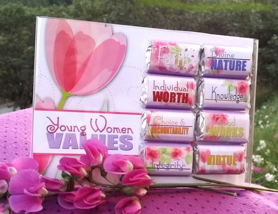 Printables - Mini Candy Bar Wrappers - YW Young Women Values - Personal Progress, Girls Camp, Secret Sister, DIY Gifts, hand-outs, treats