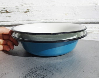 Vintage Enamel Bowls, Set of 2 Light Blue and Marine Heavy Metal Bowls, Baking Enamelware, Soviet Russia USSR
