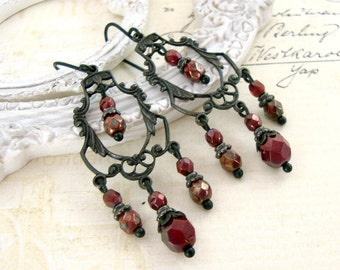 Blood Red Gothic Chandelier Earrings - Red and Black Metal Jewelry - Vampire Earrings Victorian Gothic Wedding Jewelry with Garnet Red Beads