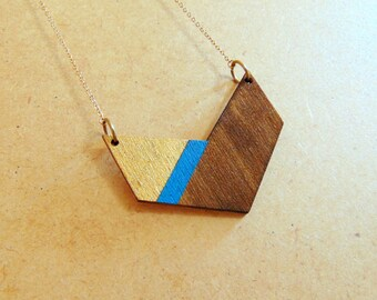 Chevron Necklace, Wood Geometric Necklace,Geometric Jewelry