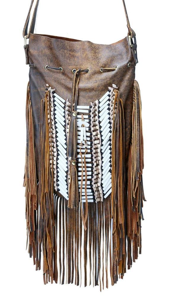 N48G- Big Brown Antique Indian leather Handbag, Native American Style bag. Crossbody bag