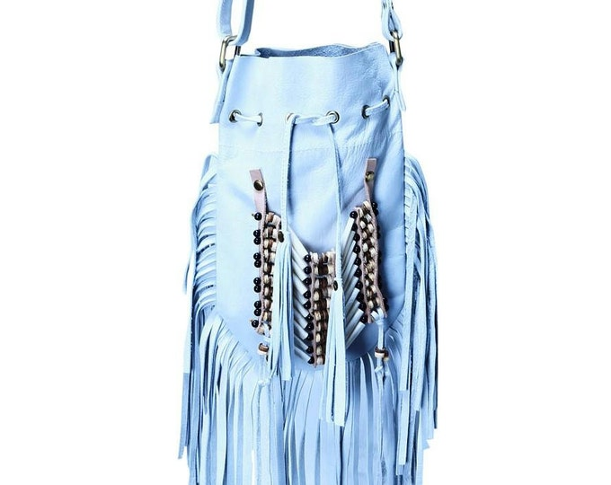 N45P- White Indian leather Handbag, Native American Style bag. Crossbody bag