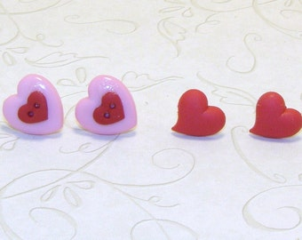 Small Heart Pink And Red Button Earrings, Small Heart Jewelry, Red Heart Earrings, Valentine Earrings, Valentine Jewelry