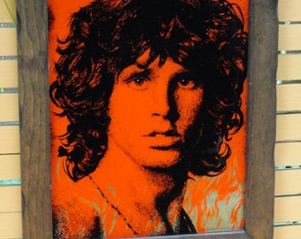Jim Morrison Framed Art. Red Artistic Rendering. Silver Flames. 1970s Rare! The Doors. Collectible