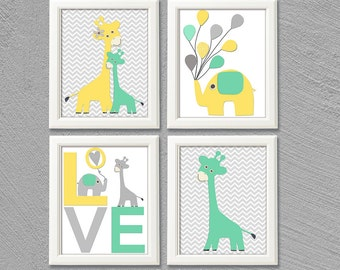 Mint, yellow and grey Nursery Art Print Set, Kids Room Decor, love art, balloons, chevron, giraffe family, elephant -UNFRAMED