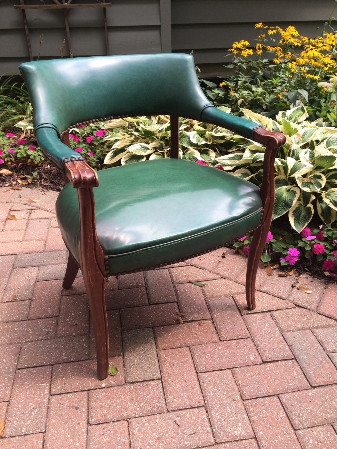 Vintage Emerald Green Naugahyde Upholstered Accent Arm Chair