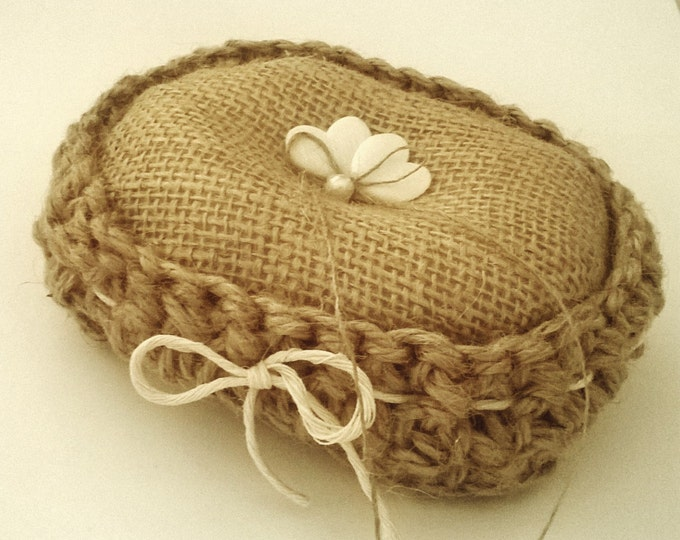 Crochet Twine Burlap Ring Cushion, Made to order