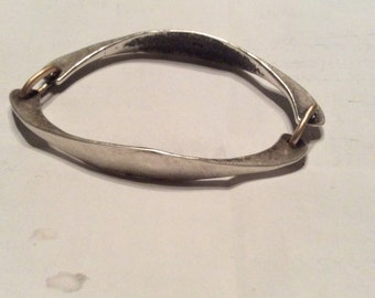 Hand forged two piece sterling bangle bracelet