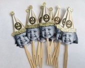 Gold or Sliver birthday hat photo cupcake toppers . set of 12