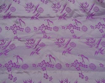 """4 Yards of Vintage Silky Purple Satin Print 33 1/2"""" Wide"""