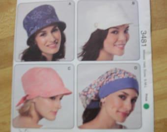 Kwik Sew 3481 Misses Hats size S-M-L