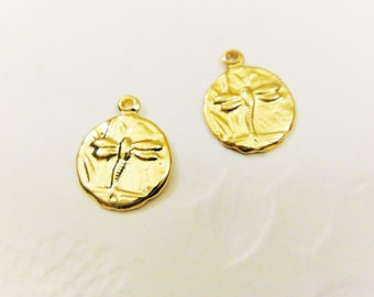 2 pc. , 18k gold over 925 sterling silver dragonfly, vermeil dragon fly charm ,  shiny gold