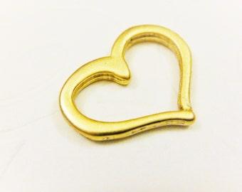Vermeil, 18k gold over 925 sterling silver  heart charm 1 pc., vermeil heart, gold heart, heart