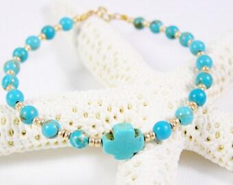 cross bracelet, turquoise bracelet, turquoise gold bracelet, thin bead bracelet