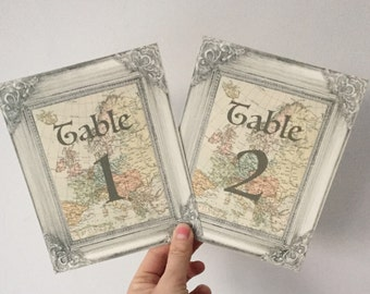 Map Wedding Table Number Cards Travel Atlas Ornate Frame Design Vintage Style