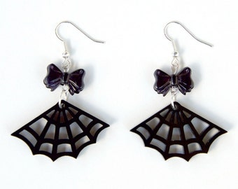 Black Acrylic Spider Web Cobweb Gothic Earrings with Beads of your choice
