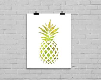 Watercolor Pineapple Colorful Art Print Yellow Green Kitchen Art Print Watercolor Painting Watercolor Print Watercolor