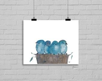 Blue Bird Family Bird Print Watercolor Painting Print Watercolour Wall Art