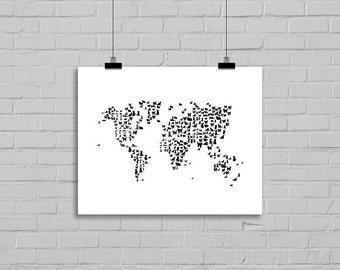Cat Map Black Cat Watercolor World Map Print Cat Painting