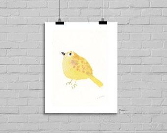 Bird Watercolor Print Bird Print Yellow Happy Bird Watercolor Painting Art Print Watercolor Print Watercolour Wall Art