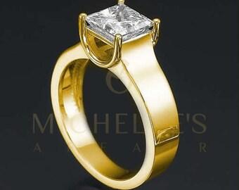 Solitaire Diamond Engagement Ring 14 Karat Yellow Gold H VS2 Princess Cut 2 Carat Women Diamond Ring