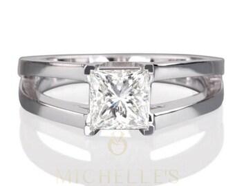 1.5 Carat Diamond Wedding Ring Women Princess Cut Solitaire Ring D VS1 18 Karat White Gold Setting