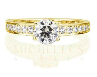 Ladies Engagement Ring 1.4 ct Round Cut Diamond D SI1 Solitaire With Accents Wedding Ring In Yellow Gold Setting