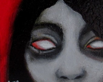 Original Shelf Sitter Painting by CES - Halloween Zombie Girl Dark Arts Repurposed Wood Outsider Red Small Collectible ART