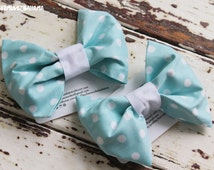 Large Custom Pale Blue and White Polkadots Dog Slip on Bow Tie For Dog Collars