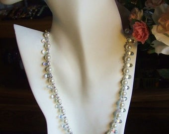 Crystal briolette and pearl necklace 0385NK