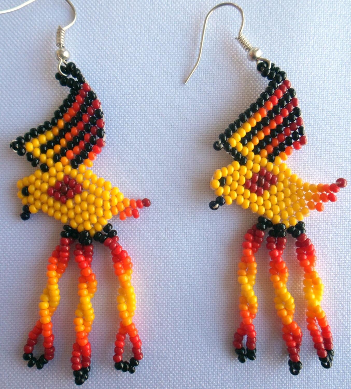 mexican huichol beaded parrot earrings
