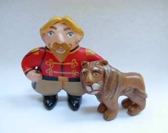 Felix, the Circus Lion Tamer - red and gold - Miniature Vintage Style Hand Sculpted Clay Folk Art Funny People Figurine Ornament