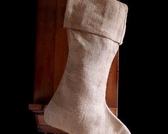 "SALE!! Burlap XL-24"" Christmas Stocking #153-21"