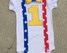 Circus birthday shirt,  Suspenders and Bow Tie Bodysuit or tshirt - choose your size - carnival birthday outfit, birthday boy