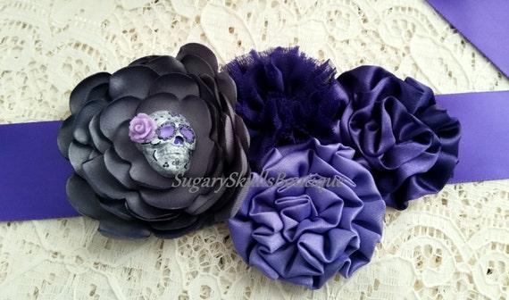 Dia de los muertos wedding dress sash sugar skull purple for Sugar skull wedding dress