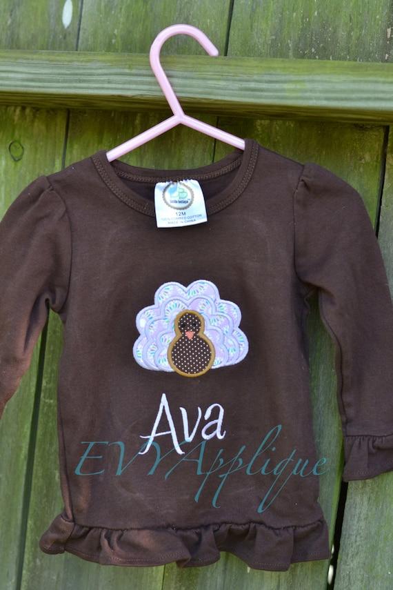 Personalized Thanksgiving turkey girls ruffle tee with name - personalized thanksgiving shirt - girls turkey shirt - baby girl thanksgiving