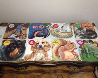 Vintage 1970s A Golden Shape Book Lot of 8 Animals Kitten, Puppy, Parrot, Squirrel, Horse, Bear, Nest
