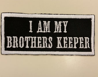 Biker Embroidered Patches, MC Iron on Patch, Motorcycle Enthusiast Patch, Brothers Keeper Patch, Motorcycle Club Patch