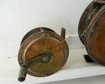 "Antique, Brass, Fly Fishing Reel, Bone/Antler Handle, 2 1/4"""